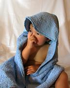 Bio ručník s kapuckou modrý