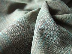 Protkávaná hnědá-tyrkys 100% bio bavlna
